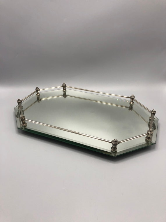 Art Deco beveled mirror tray with chrome railing