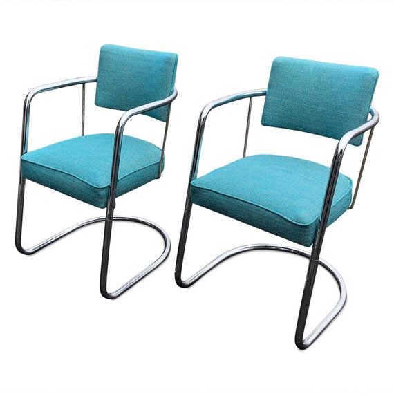 Curated Mid-Century chrome dining/office chairs