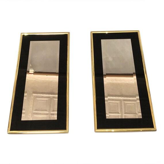 Hollywood Regency mid century Beveled polished brass mirror PAIR
