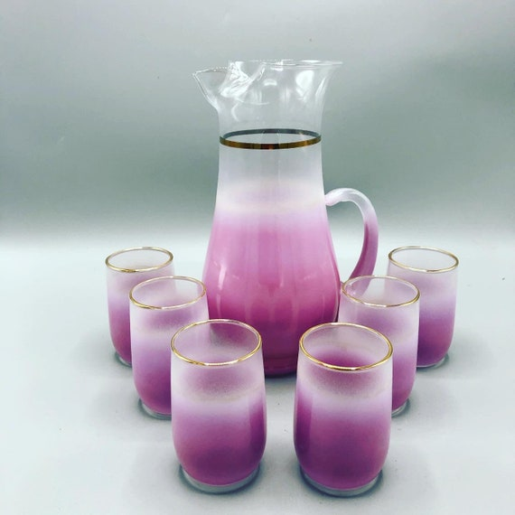 Mid-Century decanter/Carafe set with 6 small juise/glasses 1970's Circa