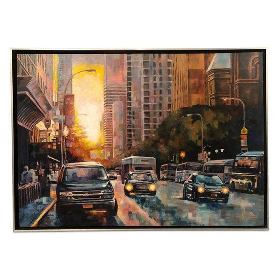 "Contemporary cityscape oil on board by Kevin Conklin titled ""city of light"" framed & signed."