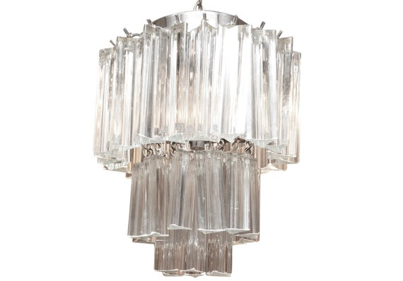 Mid century Vannini Marano Crystal Prism  chandelier with 3 tiers