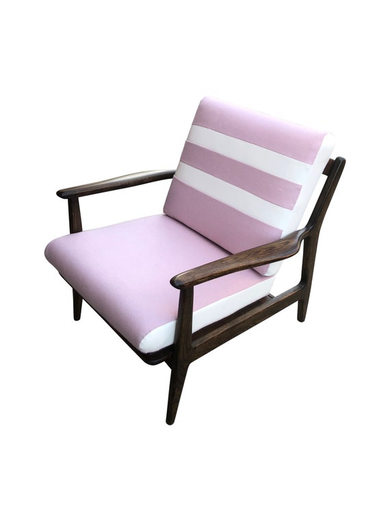 Pink Mid-Century Modern Chair with White Faux Leather Stripes