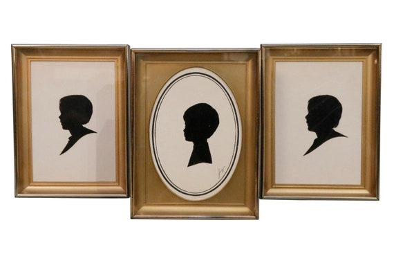 Mid-Century Silhouette Art print in a gold frame Set of 3