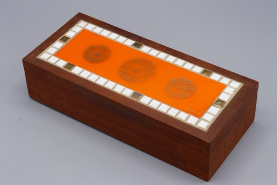Mid century jewelry wooden tiles box by George Briard 1970s