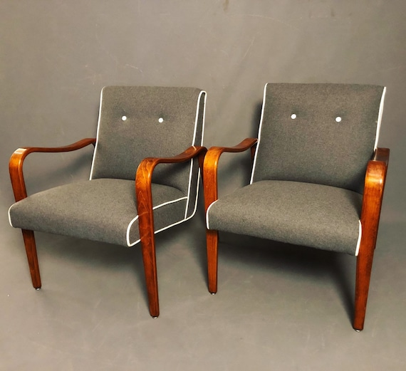 "Curated mid century lounge chairs with Bentwood maple wood by ""thonet"" Co."