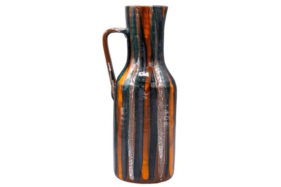 Mid-century handmade ceramic vase made in Italy 1960's  shades of orange & brown.