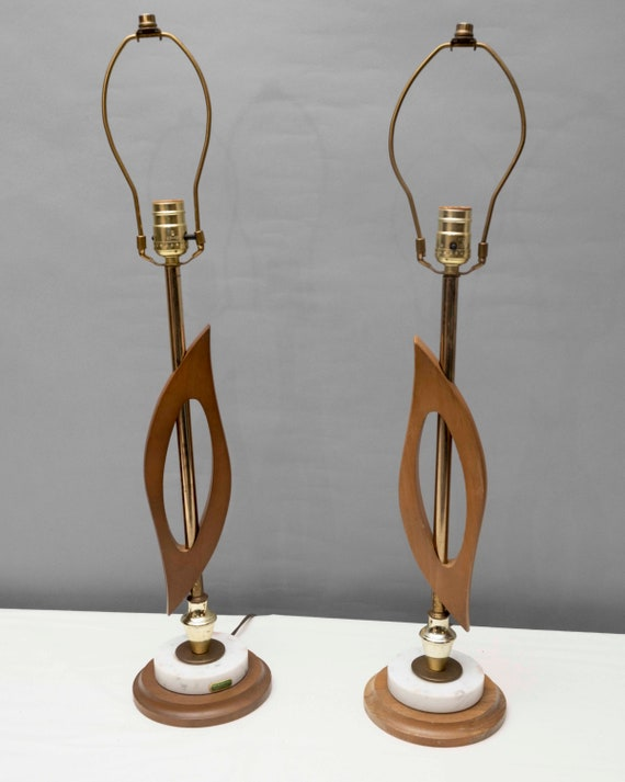 Mid-Century Italian pair of teak and marble sculpture table lamps tested and working no shades