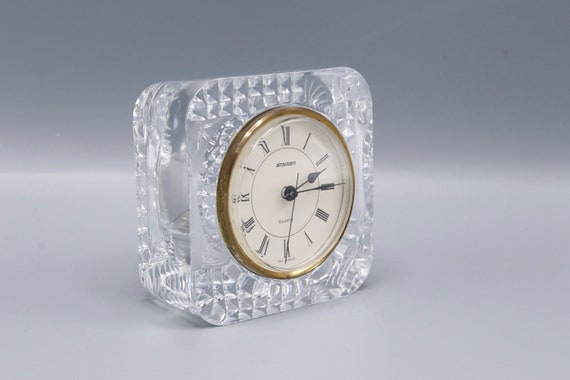 Mid century crystal glass clock by West Germany