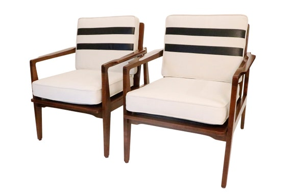 Curated mid century pair of Danish walnut  chairs with new cushion 1970 circa