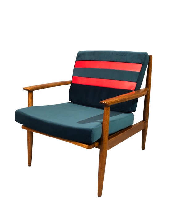 Mid-Century curated danish teak armchair with new teal velvet and red striped vinyl