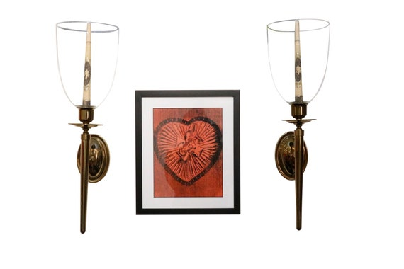 Mid-century pair candleholder wall scones with glass shade polish brass