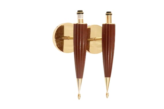 Mid-Century electric wall sconce brass and teak