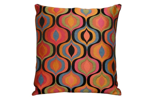 """Mid century Retro made to order multicolored geometric pillow with black velvet in the back. 18""""x 18"""" inches"""