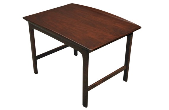 Restored Mid-Century walnut end table with lips.