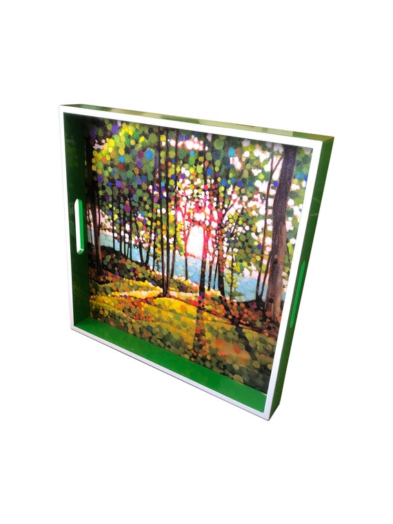 """Contemporary handmade lacquer wood wood tray with serene forest design/painting by Kevin Conklin 16"""" x 16"""" inches"""