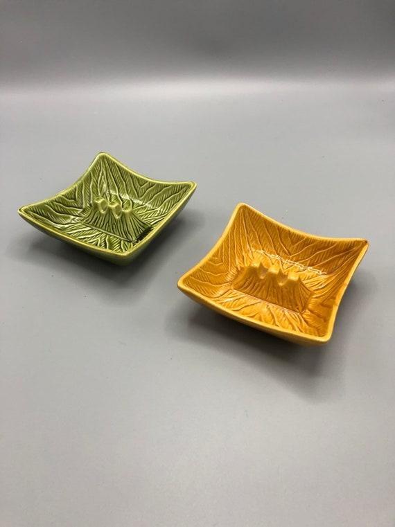 Mid century ceramic handmade mustard and green Ashtray (Pair)
