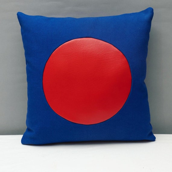 "Blue canvas geometric handmade pillow 16 x 16"" inches with red vinyl circle"
