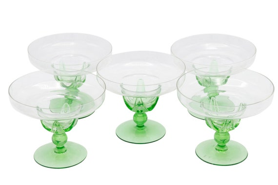 Mid century hand blown cocktail glass drinks