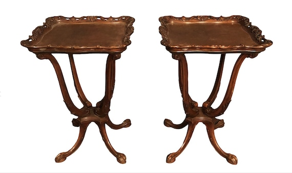 1940s Traditional Mahogany French Side Tables - a Pair