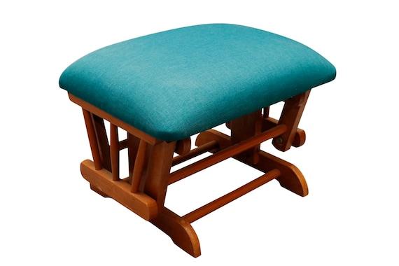 Mid century curated ottoman/footstool teakwood eith maharam teal fabric