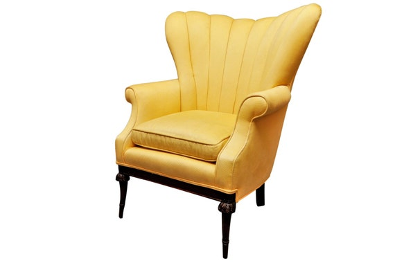 Art Deco high channel back lounge chair with original yellow upholstery