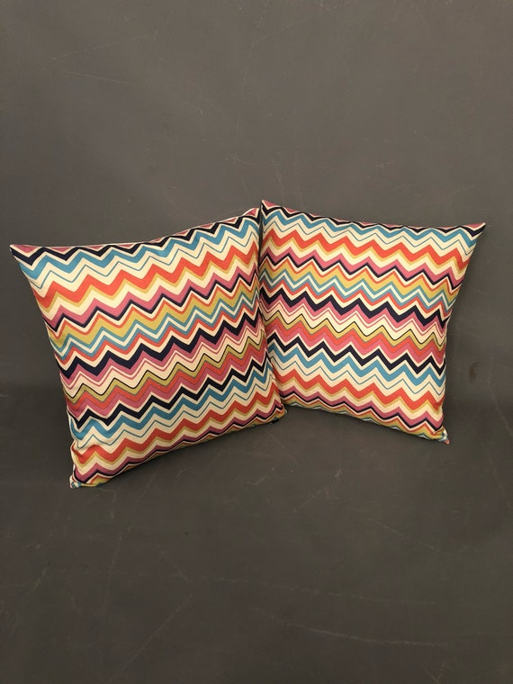 Stunning Pair of hand made multi colored modern geometric chevron zig zag pillows