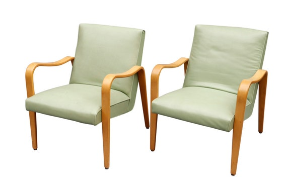 """Pair of """"Thonet"""" Mid Century Bentwood Arm Chairs in Green"""