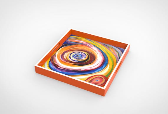 """Lacquer tray featured Artist Bruce Mishell titled """"Eye On You"""""""