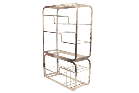 Mid-century DIA chrome étagère with glass shelves