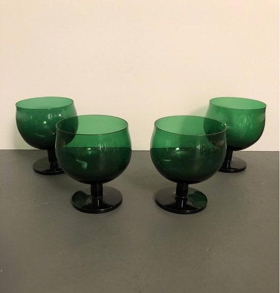 1970s Handblown Green Modern Italian Wine Glasses - Set of 4