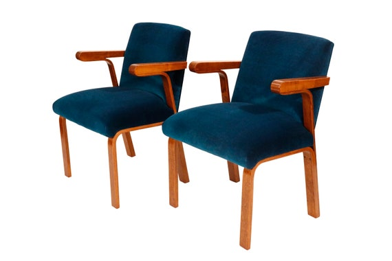 Mid-Century curated lounge chairs with new royal blue velvet 1940's Art Deco  PAIR