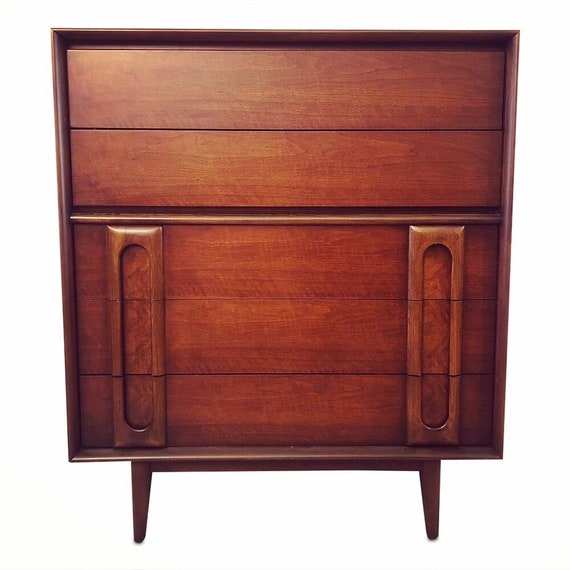"""Mid-century curated highboy dresser with 5 drawers design by """"Lane"""" 1960's"""