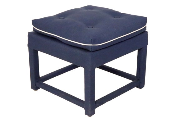Stunning mid century curated pair of parson upholstered ottoman in blue navy fabric.