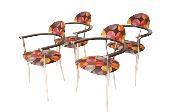 Set of 4 Curated ARRBEN ITALY Modern Design With new multi colored fabric Chrome Arm Chairs.