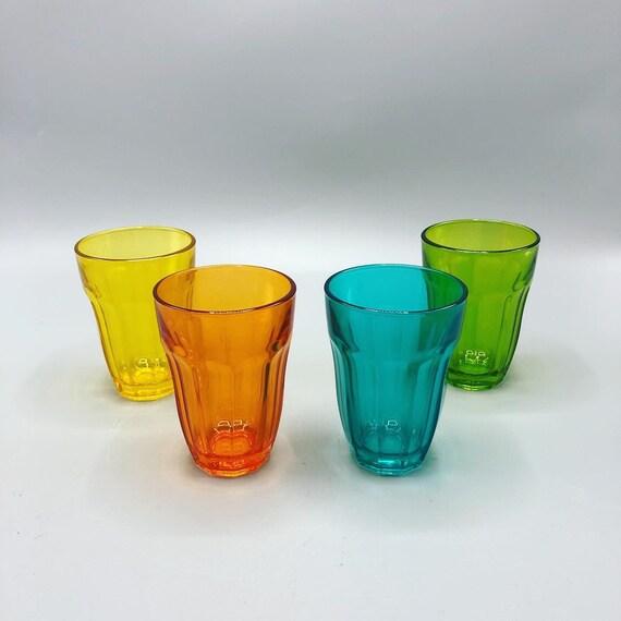 Mid century multicolored stem glass set of 4