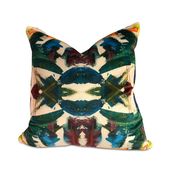 """Contemporary abstract kaleidoscope pillows with print on velvet with green velvet in the back 16"""" x 16"""" inches"""