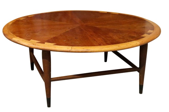 "Mid century round walnut coffee table by ""Lane"" 1960s"