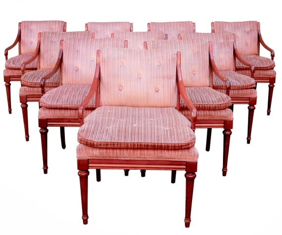 Mid century set of 10 lounge chairs in original pink upholstery sturdy & ready for a new home.