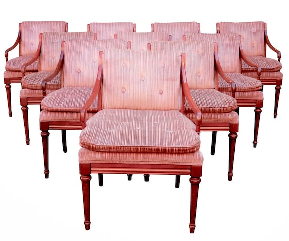 Mid century set of 6 lounge chairs in original pink upholstery sturdy & ready for a new home.