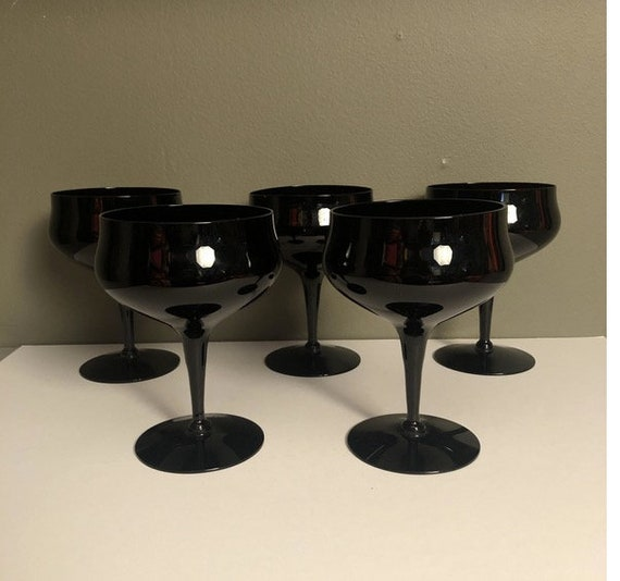 Lennox Venisia Mid-Century Black Wine Glass - Set of 5