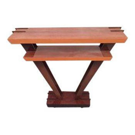 Pre owned stunning Leavitt Weaver- Deco Burl wood Console with glossy finish
