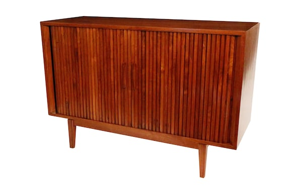 Mid century Danish curated small credenza with sliding tambour doors 1960's circa