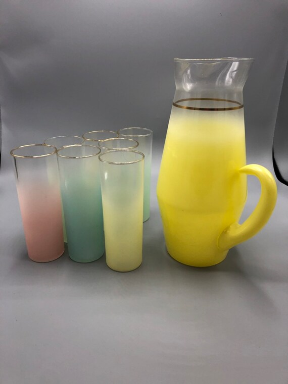 Mid century multi colored frosted glasses pitcher and 7 drinking glasses