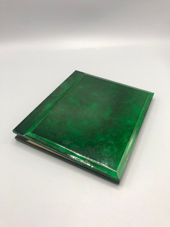 "Mid century rare and stunning thick Lucite cover album for photos in green shade the album can fit 4 x 6"" photos"