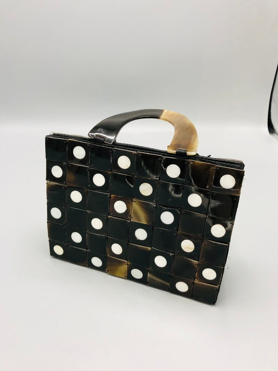 Vintage Acrylic Black with Red Polka Dots Cuff