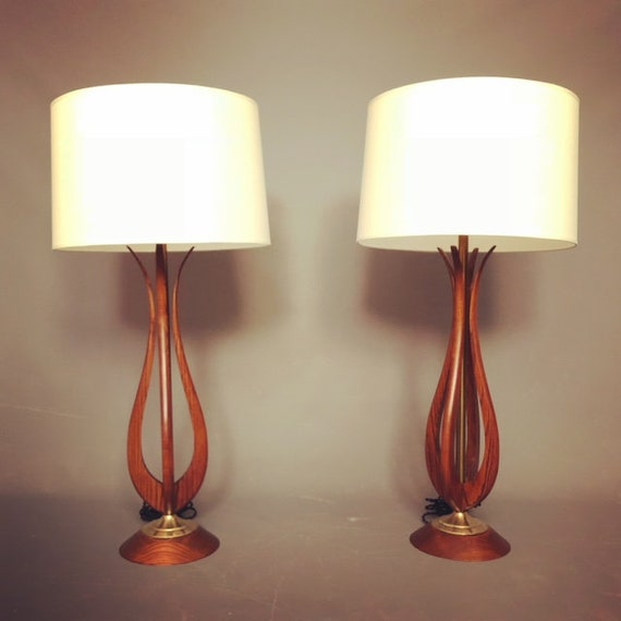 Mid Century pair Adrian pearsall style Table lamps