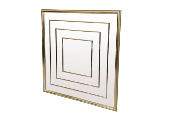 Mid century geometric square wall Mirro with brass frame 36 x 36