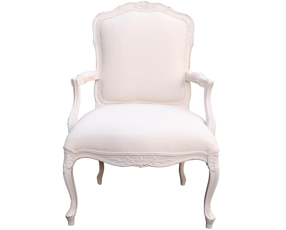 Mid century traditional shabby chic long chair with arms beautiful lines in very good condition designed by Ballard design.