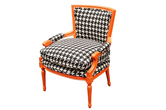 Curated Traditional French lounge chair with new houndstooth upholstery